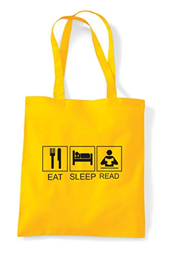 Shopper Activity Hobby Tiles Funny Tote Eat Read Bag Yellow Sleep xqHZww8R
