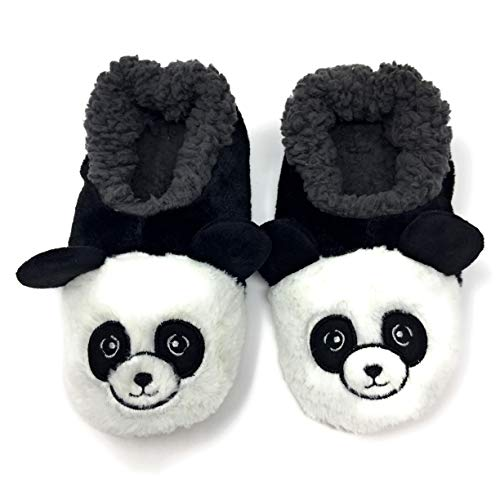 Oooh Geez Fluffy Animal Slipper Panda Bear Amazingly Soft Sherpa Non-Skid Sole Size Small Black