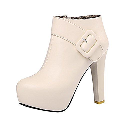 Platform Dress Ankle Boots Elegance Womens Zip High Heel Beige Carolbar Buckle TIHwqW8