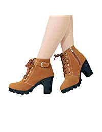 Women's Ankle Bootie Platform High Heel And Cut-Out Side Lace Up Slip-Resistant Hiking Military Boots Outdoor Work Shoes