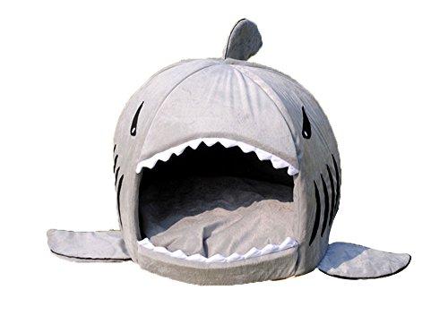 niceEshop(TM) Shark Warm Indoor Kitten Dog Cat Sofa Bed Puppy Pet House with Mat (Gray,S)