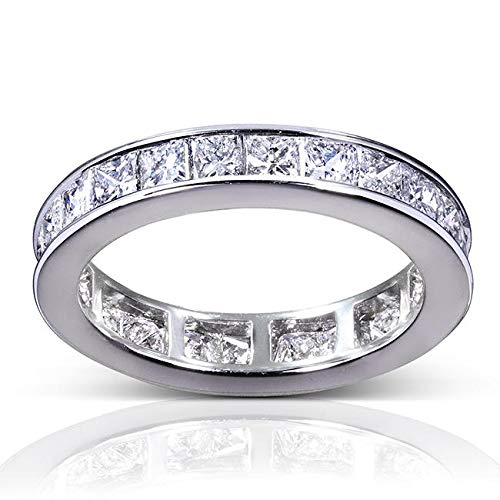 (Princess Diamond Eternity Band 3 carat (ctw) in 14K White Gold, Size 5.5)