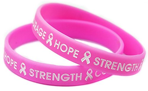Cause Breast Cancer Awareness Campaigns Wristband Hope Strength Courage Pink Ribbon Printing Silicone Bracelet Shipped from USA