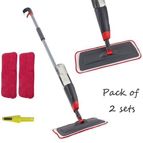 VENETIO Premium Spray Mop 2 Reusable Microfiber Pads 360 Degree Rotation Joint for Home Kitchen Hardwood Laminate Wood…