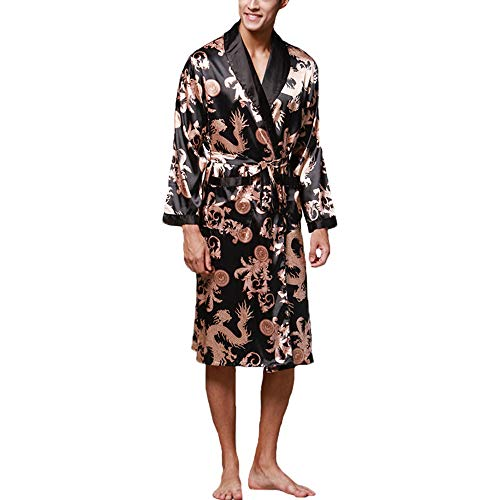 SZYB Chinese Lucky Dragon Print Pajamas Men Gown Bathrobe Men Homewear X1 Black