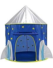 خيمة لعب للأطفال على شكل سفينة صاروخية من تويز - خيمة لعب تظاهري بطابع الفضاء - بيت لعب بالفضاء - خيمة على شكل سفينة فضاء للأطفال - خيمة لعب بنمط النجوم تلقائية الفتح وقابلة للطي - باللون الأزرق