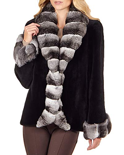 frr Royal Black Sheared Mink Jacket with Chinchilla Trim - Large