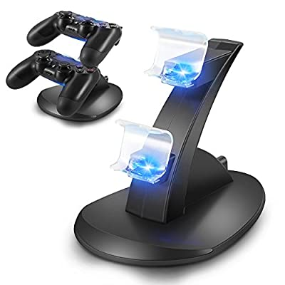 OBVIS Playstation 4 Charger Kit, Dual USB Charging Charger Docking Station Stand for Playstation 4 PS4 Controller from Obvis