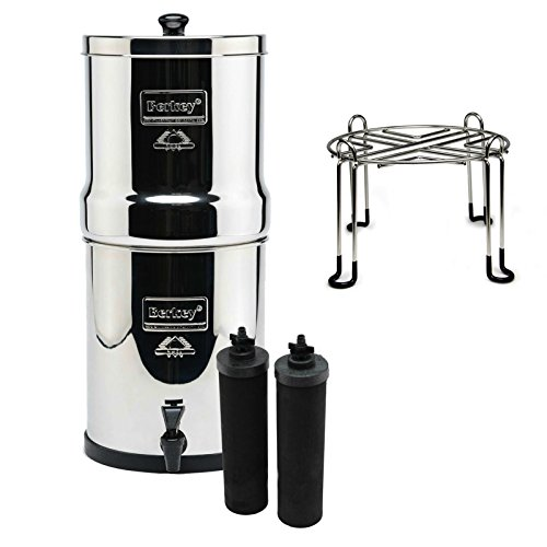 Royal Berkey Stainless Steel Water Filtration System with 2 Black Filter Elements and Stainless Steel Wire Stand by Berkey