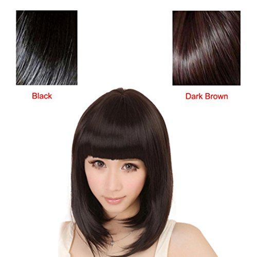 Straight Short Bob Synthetic Wigs With Flat Bangs For Cosplay Party Willsa