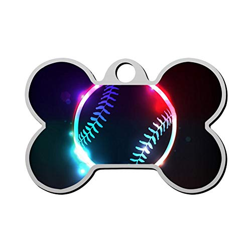 WWQE-47 Glowing Baseball Duplex Print Pet ID Dog Tag,Custom Pet Tag Pets Name & Contact Number Bone Shape