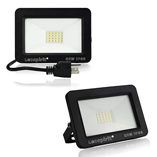 20W LED Flood Lights,Led Security Lights IP65,6500K Daylight,100W Equivalent,Outdoor Floodlights for Garden,Garage,Lawn,Yard and Porch Entryways 2-Pack by Ledspirit [並行輸入品] B07R8PR1LN