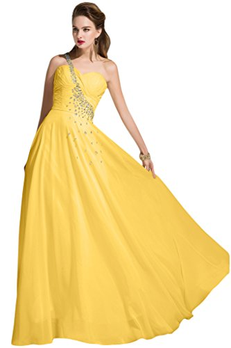 sunvary Crystal de volantes para el hombro One de gasa dama de honor vestidos de para mujer amarillo