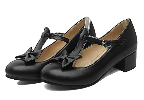 Low Round WeiPoot Solid Toe Black Soft Shoes Pumps Heels Material Buckle Women's OqwSBwYa