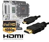 Micro HDMI HD Video Cable for Gopro Hero3 - Hero3+ - Hero4 Black Edition and Silver Edition Camera--Version 1.4 - 5feet 1.5m By Master Cables