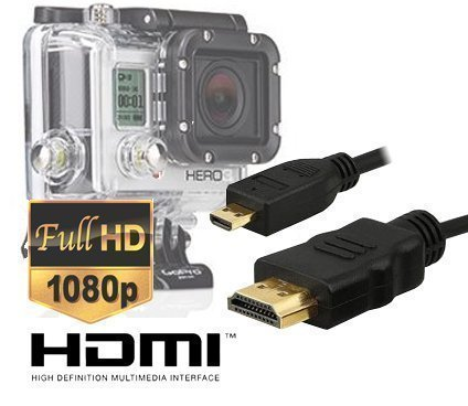 Micro HDMI HD Video Cable for Gopro Hero3,Hero3+,Hero4 Black Edition and Silver Edition Camera--Version 1.4,5feet/1.5m By Master Cables