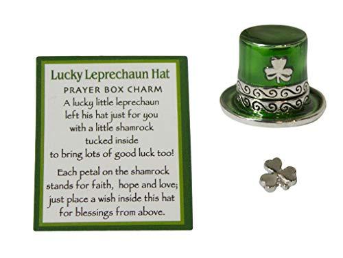 Gnz Lucky Leprechaun Hat 3/4 Inch Zinc Prayer Box Charm with Story Card]()