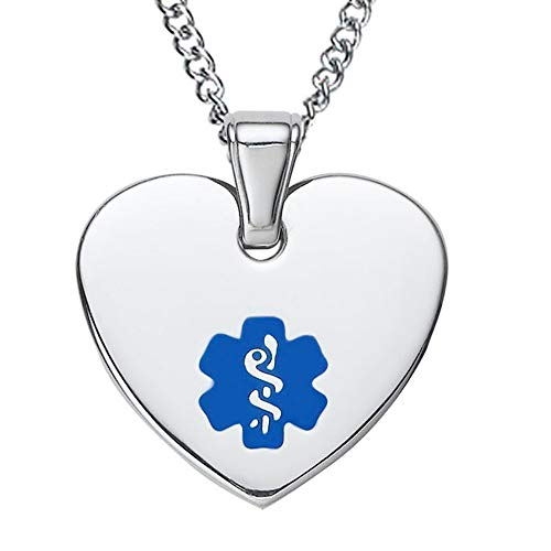 Divoti Free Deep Custom Laser Engraved-Heart Tag Medical Alert ID Pendant Necklace for Women w/Free Engraving -24 Stainless Curb Chain