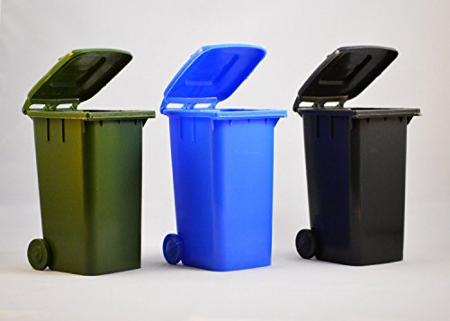 Set of 3 Toy Trash Cans - (Blue, Dark Grey, Green) (Toy Trash Can compare prices)