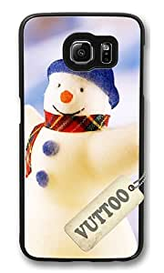 Samsung S6 Case,VUTTOO Stylish Cute Snowman Hard Case For Samsung Galaxy S6 - PC Black