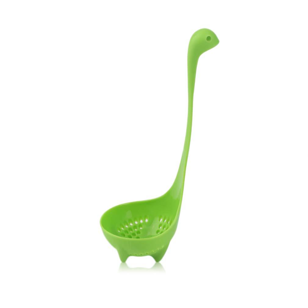 FairytaleMM Creative Nessie Louche Cuill/ère Couleur Poign/ée Longue Vertical Grand Congee Cuill/ère Cuisine Vaisselle Cuill/ères Hot Pot Spoon-Green
