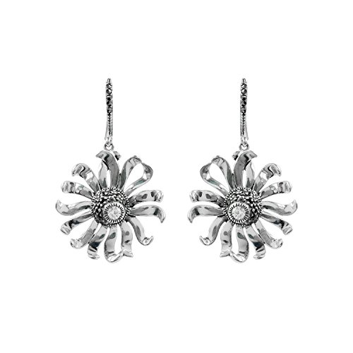 Aura 925 Sterling Silver Earring White Cz, Marcasite