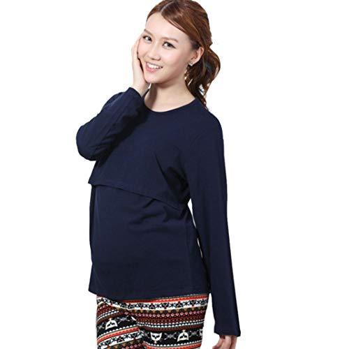Nursing L Azul Maternity Embarazadas Sleeve Long Breastfeeding Pregnant Amphia Vestido Shirt Clothes Marino Tops Ropa T 6Y5qIaOWf