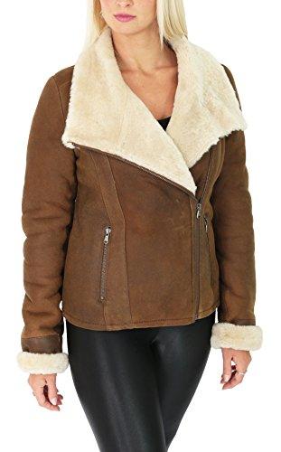 Ladies Real Sheepskin Merino Shearling Jacket Aviator Biker Style Jodie Tan (X-Large)