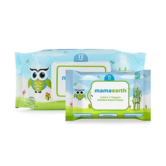 Mamaearth Organic Bamboo Based Baby Wipes + Wipes Travel Pack Free