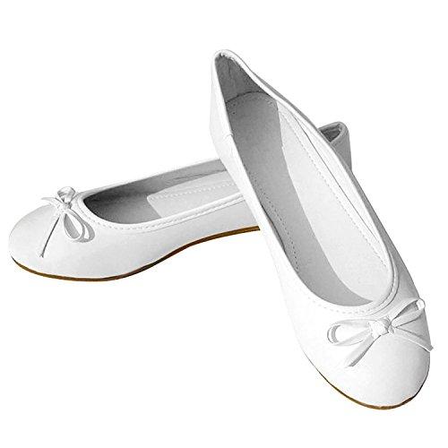 Maybest Dames Boog Dolly Platte Schoenen Pantoffels Ballerina Ballet Pumps Flats Wit