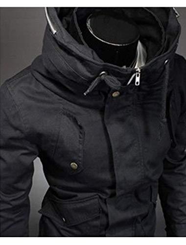 Outwear Outwear Giacca Giacca Giacca Abbigliamento Cerniere da Coat Lunga Giacche Manica Tasche Stile Uomo con Convertibile Nuovo Schwarz Anteriori in 88ArxOq