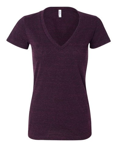 Bella 8435 Ladies Tri-Blend Deep V-Neck - Amethyst Triblend - XL