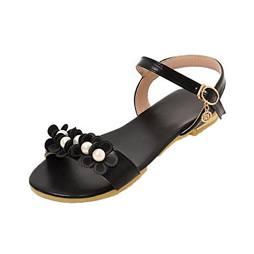 AalarDom Mujer Hebilla Puntera Abierta Mini Tacón Pu Sólido Sandalias de vestir Negro(huazhu)