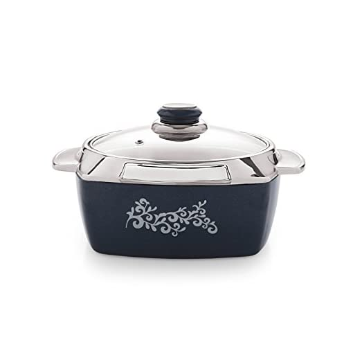 Cello Metallo Plastic Casserole With Lid, 1.1 Litres, Blue