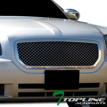 Topline Autopart Chrome Mesh Front Hood Bumper Grill Grille ABS For 05-07 Dodge (Dodge Magnum Weight)