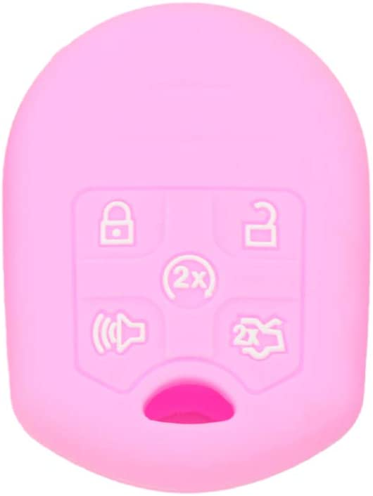 SEGADEN Silicone Cover Protector Case Holder Skin Jacket Compatible with FORD 5 Button Remote Key CaseCV2706 Pink