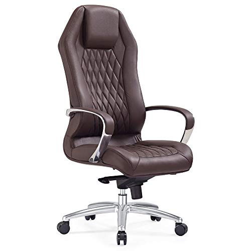 Modern Ergonomic Sterling Leather Executive Chair with Aluminum Base- Dark Brown