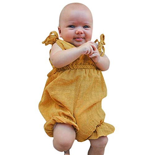 Rompers for Baby Girls Shusuen Bodysuits Cotton Flutter Sleeve One-Piece Summer Casual Outfits Clothes Yellow
