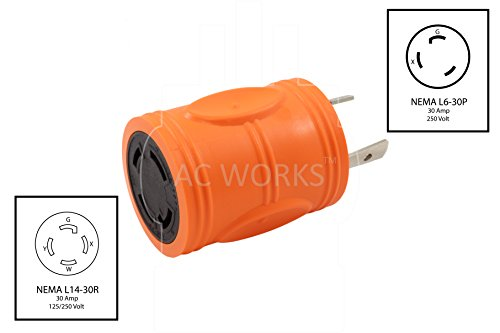 AC WORKS [ADL630L1430] Locking Adapter L6-30P 30Amp 250Volt Locking Plug to 4-Prong 30Amp L14-30R Adapter by AC WORKS (Image #1)