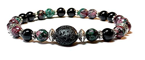Handmade Lava Rock (Basalt), Black Tourmaline and Ruby is Zoisite Diffuser Healing Bracelet 7 Inches