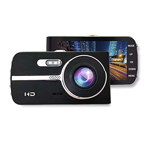 Dash Cam 4 Inch Car Camera-Car Camcorder Super HD 1080P LCD Display Recorder with Front+VGA Rear 290°Super Wide Angle Built-in G-Sensor Night Vision Recording Loop Recording