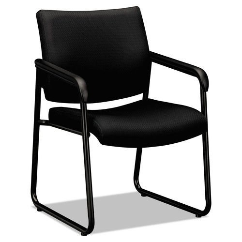 basyx by HON Guest Chair - Office Chair with Padded Fixed Arms, Black (HVL443) by basyx by HON