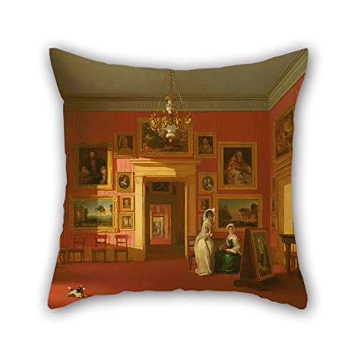 Slimmingpiggy Oil Painting Robert Huskisson - Lord Northwick's Picture Gallery At Thirlestaine House Pillowcase 16 X 16 Inches / 40 By 40 Cm Gift Or Decor For Kitchen,shop,bench,wife,study (Magic Mike Halloween Outfits)