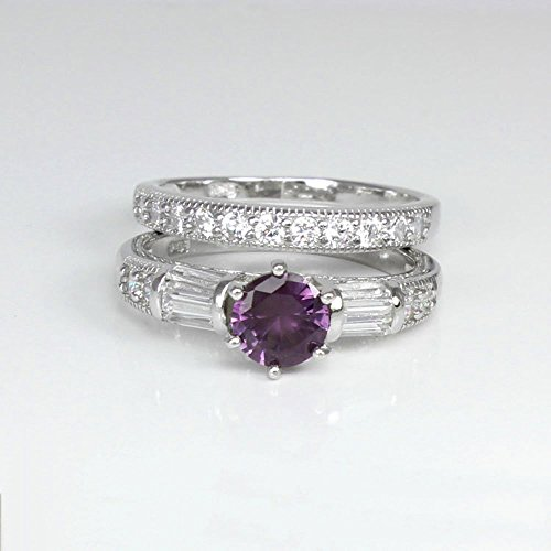 Color-Changing Alexandrite and Diamonds Engagement Ring Set Sterling Silver ()