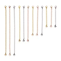 D-buy 12 Pcs Stainless Steel Necklace Extender Bracelet Extender Extender Chain Set 4 Different Length: 6 inch 4 inch 3 inch 2 inch (4 Gold, 4 Silver, 4 Rose Gold)