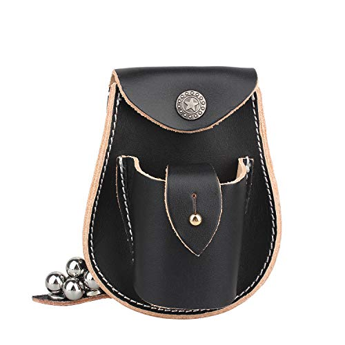 2 in 1 Genuine Leather Hunting Slingshot Pouch with Ball Ammo Pouch Bag Case Holder Belt Holster (Black)