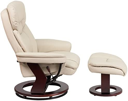 home, kitchen, furniture, living room furniture,  chairs 7 image Flash Furniture Recliner Chair with Ottoman | Beige LeatherSoft promotion