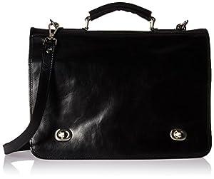 Luggage Depot USA, LLC Alberto Bellucci Italian Leather Double Compartment Laptop Messenger Bag, Black Laptop Messenger Bag from Luggage Depot USA, LLC