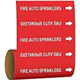 Brady Pipe Marker Fire Auto Sprinklers Red
