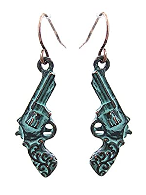 Cowgirl Western Jewelry Gun Pistol Earrings Patina Turquoise Blue